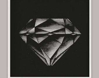 Diamond Art Print, Jewel Wall Art, Gem Art, Gem Art, Diamond Wall Art, Diamond Home Decor, Victorian print, Etching, Wall Art, Luxe Decor