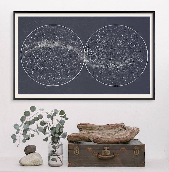 Wedding Star Chart: Star Map Star Chart Print Double Constellation Wedding