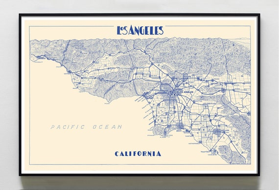 picture about Printable Maps of Los Angeles identify Los Angeles map print map of Los Angeles print Los Angeles metropolis poster  Los Angeles Wall Decor Map of Los Angeles LA Map print