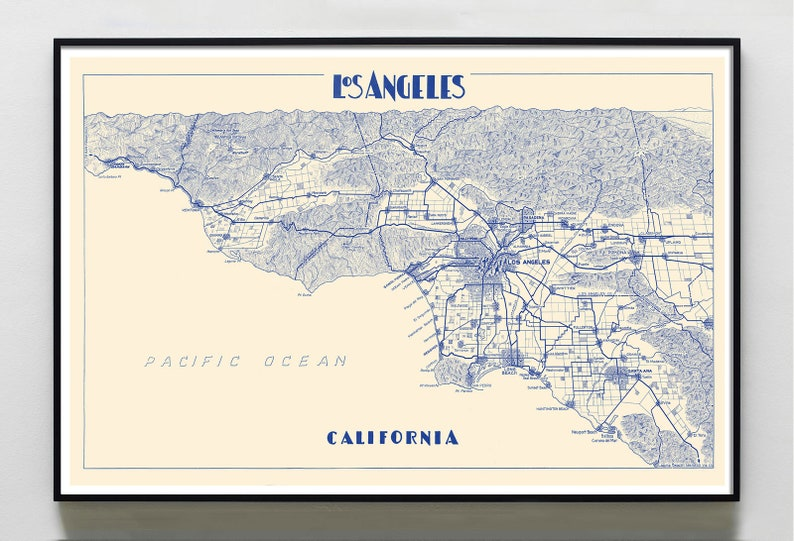 picture regarding Printable Map of Los Angeles identified as Los Angeles map print map of Los Angeles print Los Angeles metropolis poster  Los Angeles Wall Decor Map of Los Angeles LA Map print