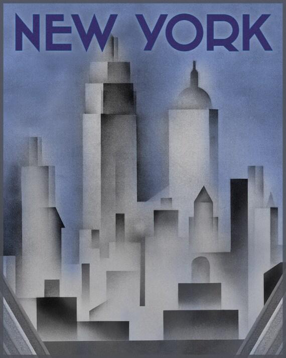 Art Deco Poster New York.Art Deco New York Pink Print New York City Deco Poster New York Print Historical New York Art Deco Style Print Vintage New York