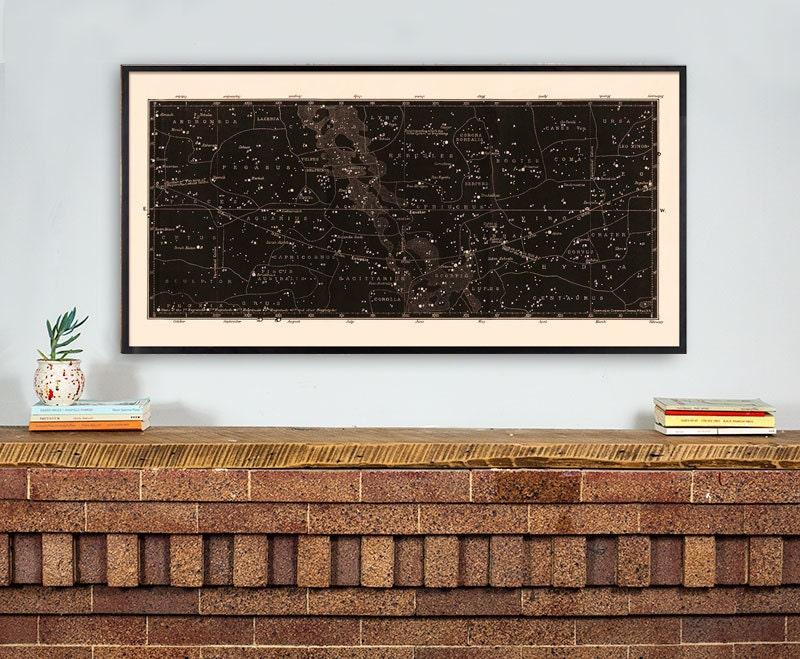 "30""x60"" Framed Antique Constellation Map"