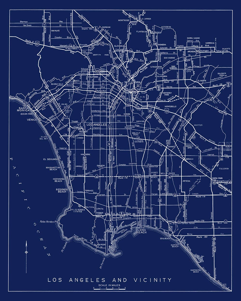 Los Angeles Karte drucken Karte von Los Angeles Druck Los