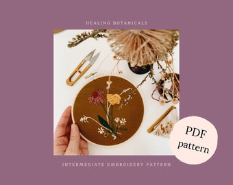 Floral embroidery pattern, flower embroidery pattern, healing botanicals embroidery guide, PDF embroidery pattern