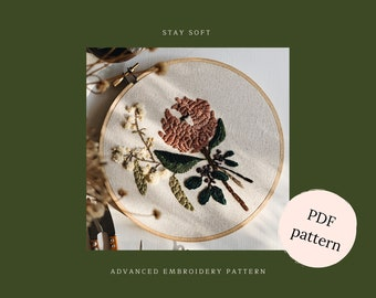 Embroidery pattern, floral embroidery pattern, protea embroidery guide,