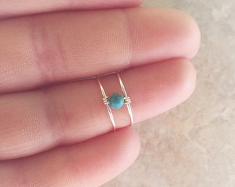 Boho Ring, Midi Ring, Silver Midi Ring, Sterling Silver Ring, Knuckle Ring, Turquoise Ring, Silver Ring, Adjustable Ring, Mid Finger Ring