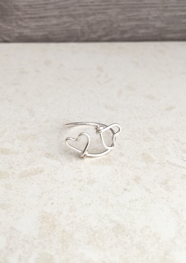 Heart Ring For Girls Bridesmaids Ring Knuckle Ring Midi image 0