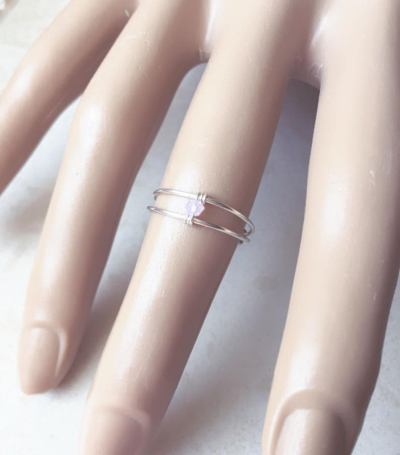 Sterling Silver Ring Promise Ring Pink Ring Statment Ring image 0