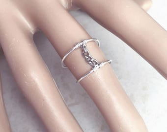 Modern Ring, Midi Ring, Chain Ring, Statement Ring, Knuckle Ring, Sized, Unique Ring, Sterling Silver, Thin Ring, Wire Ring, Mid Finger