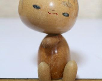 Unique sitting wooden Kokeshi rare Japanese vintage Kokeshi doll