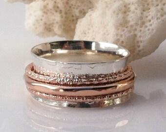 Rose Gold Ring, Spinner Ring, Sterling Silver Ring, Wedding Ring, Meditation Ring,