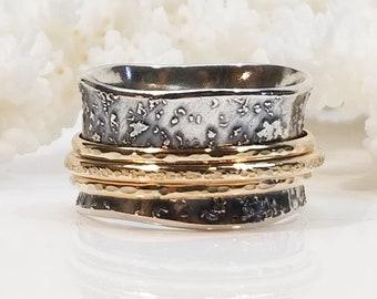 Fused Silver Meditation Ring, Thumb Ring, Spinner Ring, Girlfriend Ring, Sterling Silver Band, Meditation Ring, Wedding Ring,