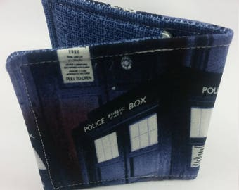 Wallet Made with Doctor Who Tardis Fabric, Nerdy Wallet, Gift for Nerds, Doctor Who Fabric, Geeky Wallet, Doctor Who Gift, Doctor Who Wallet