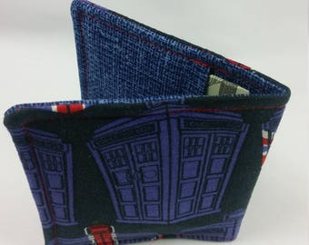 Wallet Made with Doctor Who British Tardis Fabric, Nerdy Wallet, Gift for Nerds, Tardis Fabric, Geeky Wallet, Doctor Who Wallet
