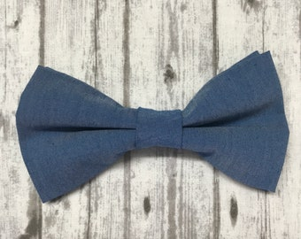 Men/'s Bow Tie Chambray Bowtie Indigo and Dusty Gray Stripe Self Tie Bowties for Gift /& Wedding  READY TO SHIP