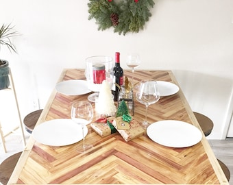 Natural Herringbone Dining Table, Dining Table With Hairpin Legs, Lath Wood Dining Table,Mid Century Modern Dining Table, Small Dining Table