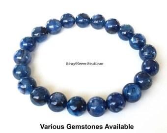 Kyanite Bracelet-7mm Grade A Genuine Kyanite Gemstone-Men Blue Bracelet-Blue Stone Bracelet-Kyanite Jewelry-Kyanite Gemstone-Natural Kyanite