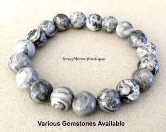 Scenery Jasper Bracelet-10mm Genuine Scenery Jasper Gemstone-Grey Men  Bracelet-Grey Gemstone Bracelet-Natural Scenery Jasper