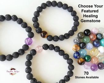 Diffuser Bracelet-Lava Bracelet-Lava Bead Bracelet-Crystal Bracelet-Lava Stone Bracelet-Aromatherapy Bracelet-Essential Oil Diffuser Gift