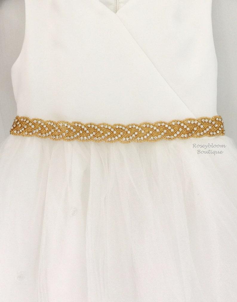 09737677d9b Flower Girl Sash-Gold Flower Girl Sash-Girl Dress Belt-Baby