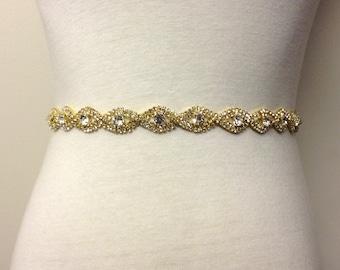 Gold Belt-Gold Sash-Gold Wedding Belt-Gold Bridal Belt-Gold Rhinestone Sash-Gold Bridal Sash-Gold Crystal Belt-Gold Teardrop Crystal