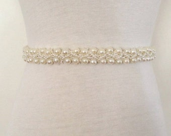 Pearl Sash-Bead Belt-Beaded Pearl Belt-Ivory Sash-Wedding Sash-Bridal Sash-Maternity Prom-Maternity Sash-Ivory Pearl Braided Bridal Sash