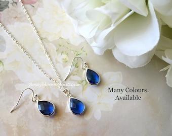 Cobalt Blue Earrings-Cobalt Blue Necklace-Blue earrings-Bridesmaid Earrings-Bridesmaid Necklace-Cobalt Blue Drop Earrings And Necklace