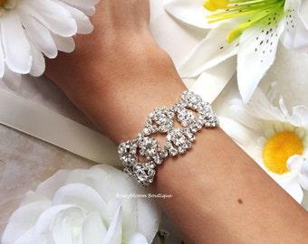 Bridal Bracelet-Rhinestone Bracelet-Wedding Bracelet-Crystal Bracelet-Bridesmaid Bracelet-Rhinestone Cuff-Double Teardrop Rhinestone Cuff