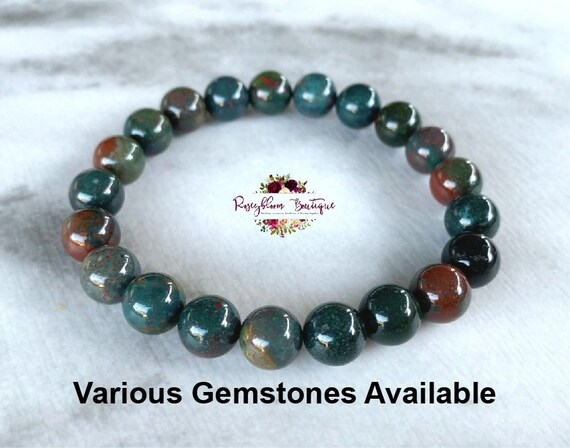 Blood Stone Bead Bracelet Genuine Smooth Beads 8mm Bracelet Stretch Cord Stone Gift for HerHimFriendshipValentine/'s Day Handmade