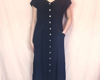 Vintage 90s Navy Polka Dot Maxi Dress  XL  1990s Grunge Short Sleeve Dress  Slinky Top  Sailor Nautical Style  Festival Summer Sundress
