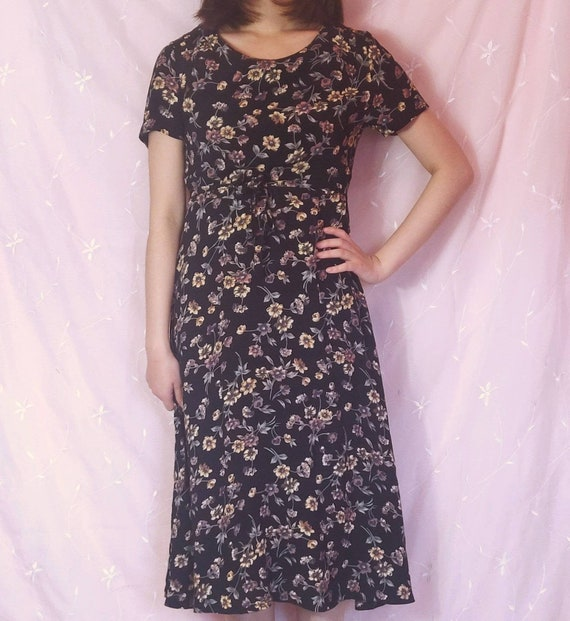Grunge floral dress Midi Black Summer Spring  Smal
