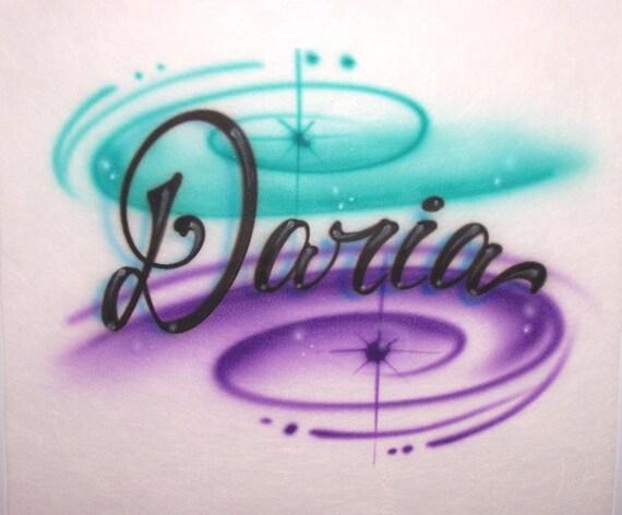 Personalized Airbrushed Script Letter Graffiti T-Shirt