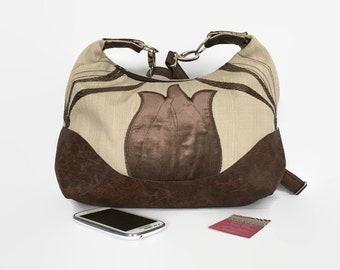 Large Hobo Bag, Crossbody Bag, Messenger Bag, Boho Bag, Shoulder Bag, Festival Bag, Purse, Marichel Hobo, Recycled Leather, Art Deco
