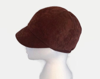News Boy Hat, Brown, Bakers Boy Hat, Faux Suede, Newsboy Hat, Small, Winter, mothers day, gifts for her