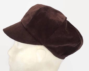 News Boy Hat, Brown, Bakers Boy Hat, Small, Needlecord, Newsboy Hat, Poor boy Hat, Winter, Autumn, Spring, Mothers Day, Gifts for  Her