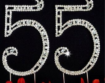 55th Birthday Wedding Anniversary Number Cake Topper Large Rhinestone Crystals Decorations