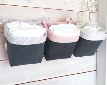 Nursery Organizer Baskets | Baby Shower Gift | Baby Storage Boxes| Kids  Room Decor | Nappy Caddy | Nursery Decor| Storage Caddy | Set Of 3
