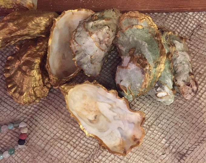 Hand gilded oyster shell jewelry dish