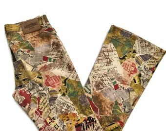 Vintage 90s MOSCHINO Baroque Abstract Mozart Print Jeans Pants size 31