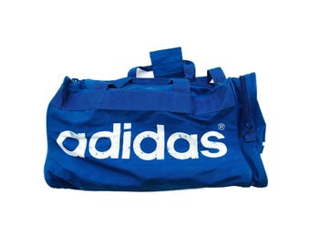 Vintage Retro 90 s Adidas Duffle Bag Blue White Spell Out Nylon Weekend Gym  Bag 03efd1b5aa93b
