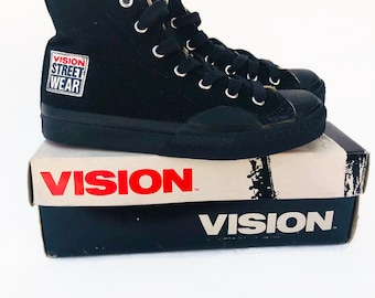 261ef986e18 Vintage Vision Street Wear Black Hi Tops Sneakers Shoes womens size 6     Youth size 4.5 deadstock