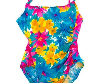 5ead45a5f1d Vintage One Piece Swimsuit Neon Floral High Cut 1 pc Bathing Suit size L