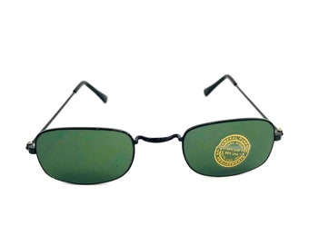 6635950f60a 90 s Vintage Sunglasses Small square Black Wire Metal Frame Rectangular  Sunglasses Green Lens