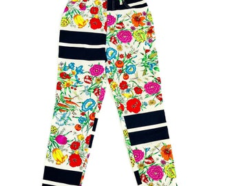 e4375c0286 Vintage Rare Moschino Jeans Printed Floral Insect Print Pants High Waist  Size 29