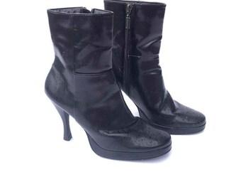 0dd4163e51d2 90 s High Heel Platform Black Ankle boots BONGO Boots size 7.5 Us womens
