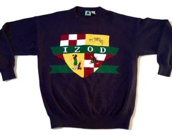Vintage 90s Izod Golf Large Logo Chunky Knit Crewneck Sweater sz XL f8bedb504fa0