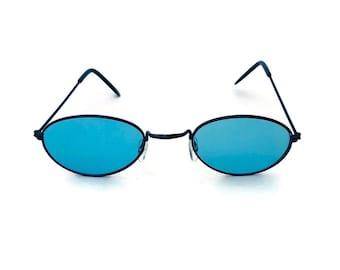 0417ba6eb 90's Oval Sunglasses Blue Colored Lens Wire Metal Frame Vintage Sunglasses