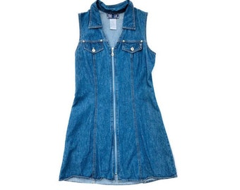 0242558b98 90 s Jean Dress Denim Dress Fitted Mini Size Small