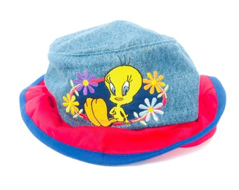 eca49366356da Vintage 90s Tweety Bird Denim Bucket Hat