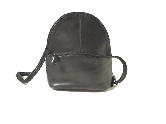 4fae4f1fcd Vintage Black Leather Backpack Purse by Tignanello